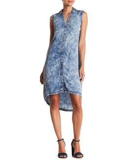 Sleeveless Front Button Acid Wash Dress