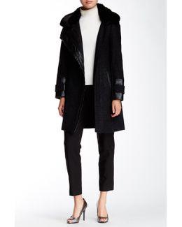 Novelty Faux Fur Collar Asymmetrical Zip Herringbone Coat