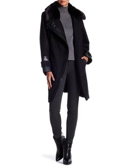 Faux Fur Collar Leather Trim Coat (plus Size)