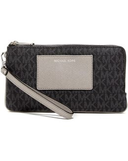 Bedford Leather Large Double Zip Wristlet