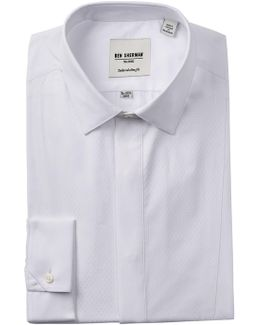 White Diamond Textured Tux Tailored Slim Fit Dress Shirt