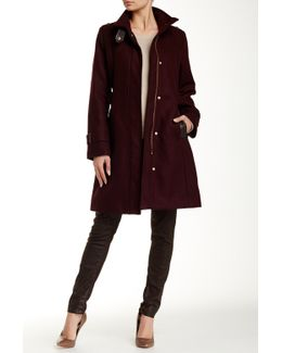 Stand Collar Leather Trim Wool Blend Coat