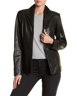 Lambskin Leather Front Zip Jacket