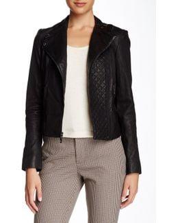 Asymmetrical Genuine Leather Moto Jacket