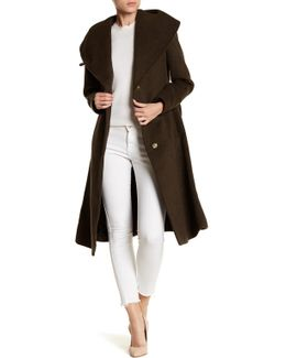 Waist Belt Wool Blend Long Coat