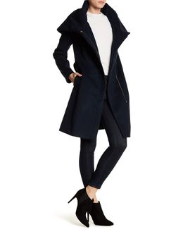 Wool Blend Waist Belt Coat