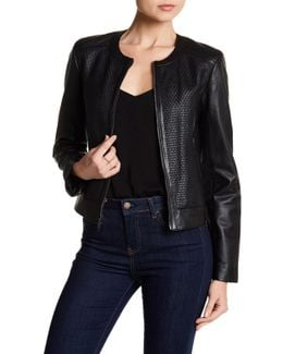 Woven Leather Jacket