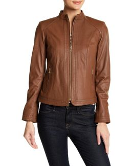 Genuine Leather Front Stitch Panel Jacket