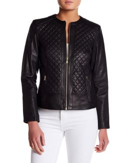 Quilted Genuine Leather Jacket
