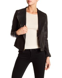 Asymmetrical Front Zip Genuine Leather Jacket