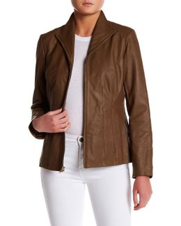 Genuine Leather Front Zip Wing Collar Jacket