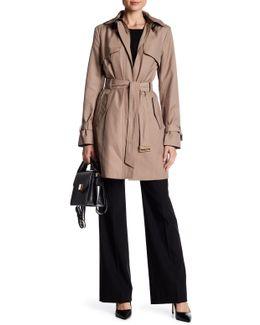 Detachable Hood Faux Leather Trim Jacket