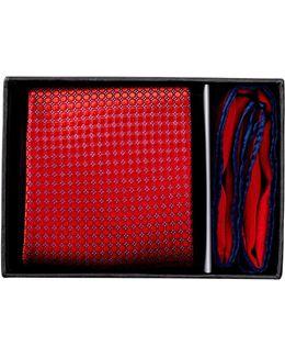 Micro Circle Neat Silk Tie & Pocket Square Set