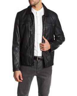 Full Zip Faux Leather Jacket