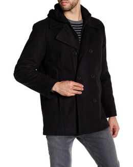Double Breasted Contrast Hooded Peacoat