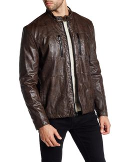 Faux Fleece Lined Faux Leather Jacket
