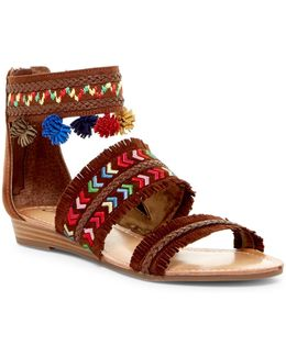 Tangier Pom Pom Wedge Sandal