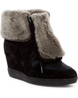 Brendy Genuine Lamb Fur Trimmed Wedge Sneaker