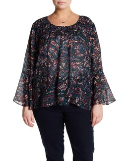 Wilma Printed Bell Sleeve Blouse (plus Size)