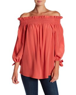 Off-the-shoulder Tie Sleeve Silk Blouse