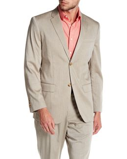 Beige Sharkskin Two Button Notch Lapel Blazer
