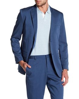 Blue Sharkskin Two Button Notch Lapel Blazer