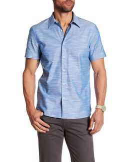 Solid Slub Texture Short Sleeve Regular Fit Shirt