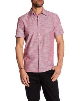 Solid Slub Texture Short Sleeve Regular Fit Shirt
