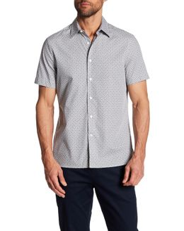 Checker Board Print Short Sleeve Regular Fit Shirt