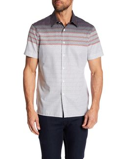 Zig Zag Print Short Sleeve Regular Fit Shirt