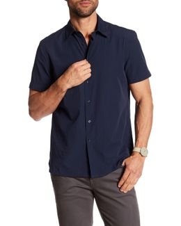 Solid Dobby Textured Short Sleeve Regular Fit Shirt