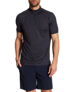 Short Sleeve Woven Zip Neck Polo