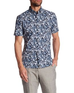 Short Sleeve Splatter Print Regular Fit Shirt