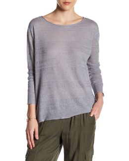 Wide Crew Neck Linen Blouse