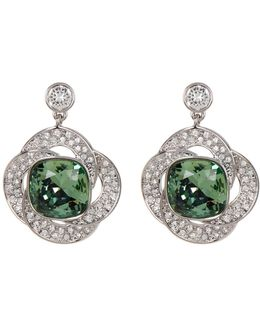 Agility Bezel Set Green & Detail Crystal Earrings
