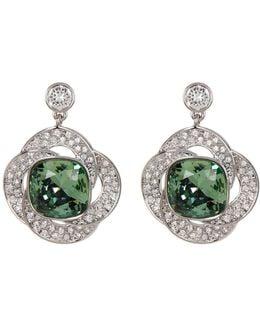 Agility Bezel Set Green & Detail Crystal Earrings