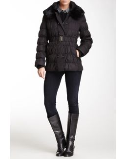 Quilted Genuine Dyed Rabbit Fur Collar Puffer Coat