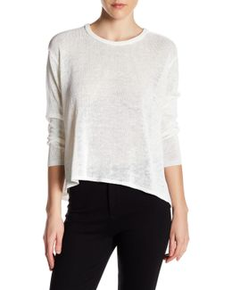 Drapey Linen Blend Crew Neck Sweater
