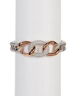 Two-tone Bound Crystal Detail Chain Bracelet