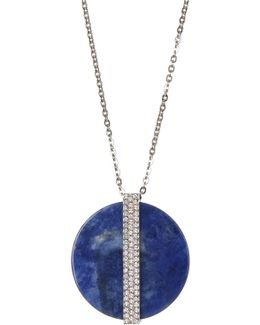 Crystal Large Disc Pendant Necklace