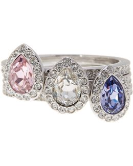 Christie Crystal Detail Stacking Ring - Set Of 3