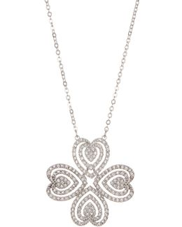Carol Crystal Heart Clover Pendant Necklace