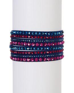 Slake Deluxe Crystal Embellished Faux Suede Wrap Bracelet