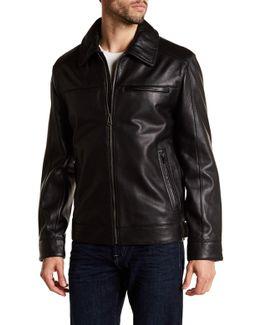 Spread Collar Genuine Leather Jacket