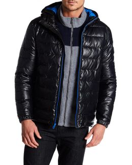 Quilted Faux Leather Hooded Puffer Jacket