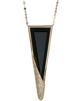 14k Gold Dia Jet Diamond Detail Spike Pendant Necklace