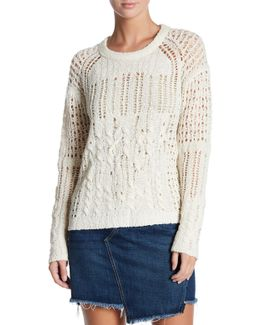 Open-stitch Crew Neck Wool Blend Sweater