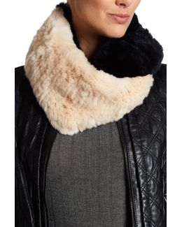 Genuine Rex Rabbit Fur Colorblock Infinity Scarf