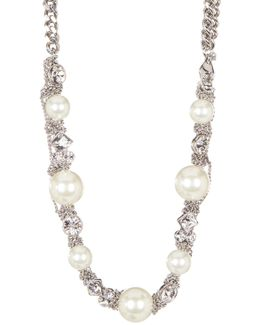 Simulated Pearl Chainlink Strand Necklace