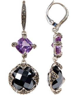 Sterling Silver Princess & Round Crystal & Marcasite Detail Drop Earrings